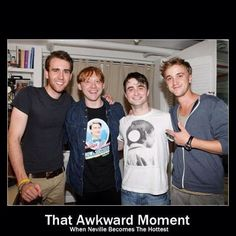 Neville Longbottom, Ron Weasley , Harry Potter and Draco Malfoy as they look today. Matthew Lewis, Rupert Grint, Daniel Radcliffe & Tom Felton all grown up! Note that Rupert is wearing a shirt from Dan's How to Succeed in Business performance. Matthew Lewis, Neville Longbottom, Memes Do Harry Potter, Harry Potter Love, Plus Tv, I Love Cinema, Raining Men, Drarry, Dramione