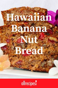 "hawaiian food recipes ""This is a recipe that I put together, out of several different ones. It's very easy and very good. Hawaiian Banana Bread Recipe, Banana Nut Bread, Banana Bread Recipes, Cake Recipes, Dessert Recipes, Scones, Nut Bread Recipe, Best Nutrition Food, Nutrition Guide"