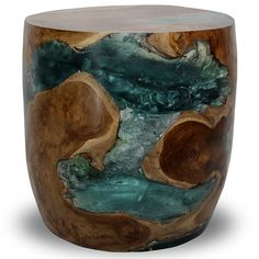 teak stool with resin and wood