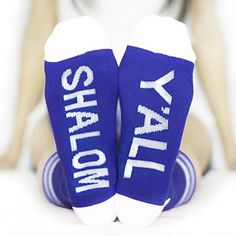 "Celebrate with #SHALOM Y'ALL socks from Arthur George by Rob Kardashian. Features: • Catchy phrase on the sole, ""SHALOM Y'ALL"" • Premium combed cotton • Cushione..."