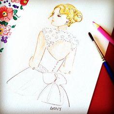 A Wedding Story....Beatrice  #bridalportrait, #fashionillustration #bride