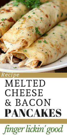 Delicious Pancakes with Melted Cheese & Bacon Recipe Breakfast Dishes, Breakfast Time, Breakfast Recipes, Breakfast Ideas, Pancakes And Bacon, Good Food, Yummy Food, Tasty, Healthy Foods
