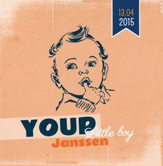 Geboortekaartje Youp | Blijkaartje.nl stoer, retro, jongen, oranje