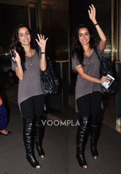 Its cute smiles and adorable goodbyes as Shraddha Kapoor waves out to the media before catching a flight for Cape Town. via Voompla.com