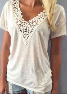 Sweet V-Neck White Lace Spliced Short Sleeve T-Shirt For Women