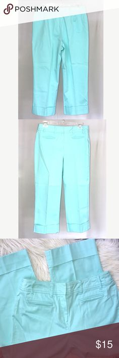 """Aqua Brushed Cotton Stretch Capri Cropped Pants Bright and fresh preloved Capri/cropped Pants are super soft cotton blend, zip fly with 2 hook closures.  Belt loops.  Cuffed hem straight legs.  Size 8.  Inseam 22.5"""", rise 11.25"""", waist across laying flat 14.5"""". In good condition. No stains. Larry Levine Pants Capris"""