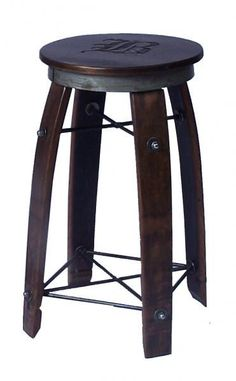 Our American made Daisy Swivel Stave Stool is made from reclaimed wine barrel staves and hand forged wrought iron. The swivel top is made from rough sawn pine with a wine barrel ring on the base of the seat. Personalize the swivel top with an initial! Wine Barrel Bar Stools, Wine Barrel Rings, Wine Barrels, Bar Furniture For Sale, Furniture Ideas, Homemade Furniture, Log Furniture, Wine Cask, Wine Barrel Furniture