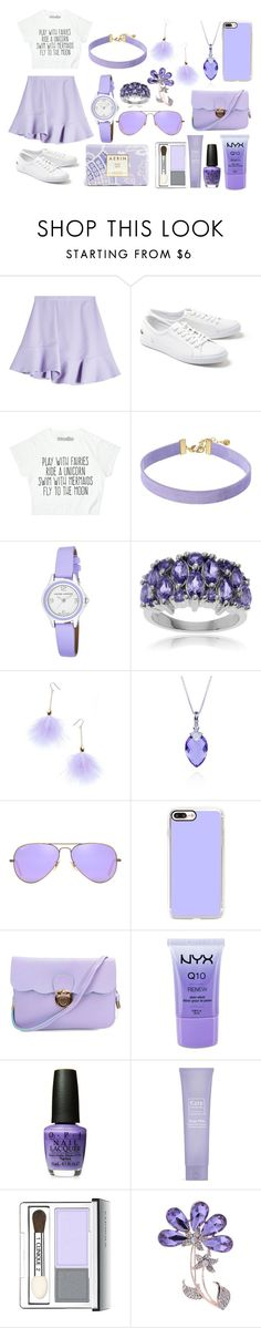 """Lilac sky"" by eternaluniverse ❤ liked on Polyvore featuring Carven, Lacoste, Vanessa Mooney, Laura Ashley, Journee Collection, Ana Accessories, Belk & Co., Ray-Ban, Casetify and NYX"
