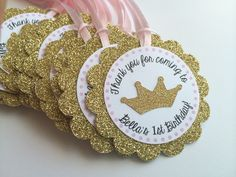 12 Gold Glitter Personalized Tags with Tiara.  Gold and Pink Party.  Sparkly Tag.  Princess Party.  Gift Tags. by PaperTrailbyLauraB on Etsy https://www.etsy.com/listing/206908631/12-gold-glitter-personalized-tags-with