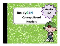 Let's get organized! Download these FREE headers and use them to create a concept board.  You can provide an at-a-glance overview of the Ready Gen module being taught.  Please check my store for unit/module specific concept boards. I have included a sample concept board as a reference. Please note, this file contain the following headers:  ReadyGen Concept Board