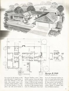 Vintage House Plans, Mid Century Homes, 1960s Homes almost perfect put laundry room in place or stairs