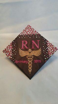 RN rhinestone graduation cap