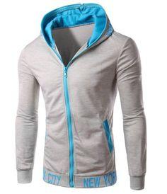 Color Block Zipper Fly Letters Pattern Patch Pocket Slimming Hooded Long Sleeves Men's HoodieHoodies & Sweatshirts | RoseGal.com