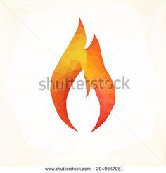 Geometric fire flames icon, vector illustration  - stock vector