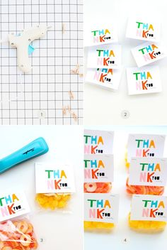 Imprimibles para usar para cerrar bolsitas de chuches o comestibles. Me encanta lo coloridas que son. Ponen: Thank you (seriously) >> colorful favor bag toppers | Julep