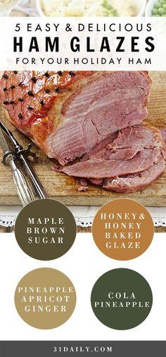 5 Easy and Delicious Glazes for Holiday Hams 31 Daily Et Yemekleri Baked Ham Glaze, Easy Ham Glaze, Honey Baked Ham, Honey Glaze For Ham, Honey Ham, Holiday Ham, Holiday Recipes, Easter Recipes, Recipes Dinner