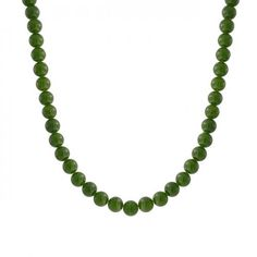 Bling Jewelry 8mm Round Gemstone Bead Moss Green Jade Necklace 17 Inches