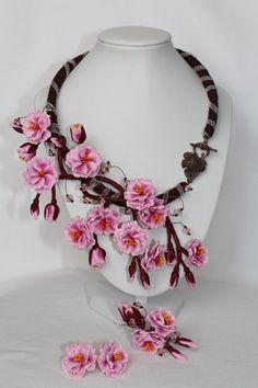 Jewelry set Sakura Sakura necklace earrings by Jewelrylimanska
