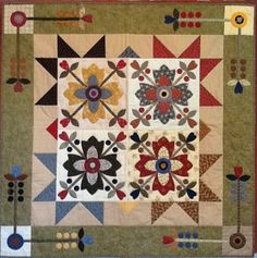 """I love the applique and the piecing on this Quilt called """"Country Whig rose"""". Pattern by Kim Diehl."""