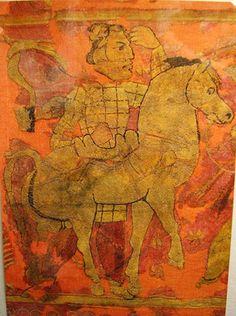 Hunnish textile from Noin Ula of Kurgan VI Yak fights beast Northern Mongolia c BC - Turkish Cosmology Turkic Languages, Semitic Languages, Eurasian Steppe, Knit Rug, Blue Green Eyes, Indian Language, Mongolia, Rugs On Carpet, Abstract
