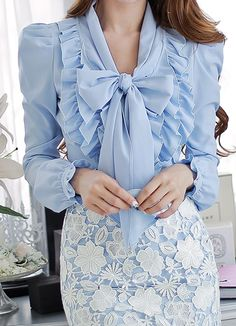 MULTI RUFFLE BOW BLOUSE | LIGHT BLUE Bow Blouse, Blouse And Skirt, Ruffle Blouse, Sexy Outfits, Cool Outfits, Formal Outfits, Clothes Pictures, Satin Blouses, Blue Bow