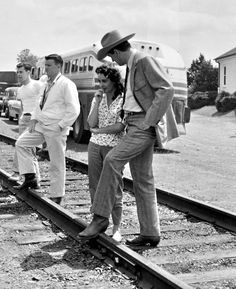 GIANT (1956) - Rock Hudson and Elizabeth Taylor chat along the railroad track near Marfa, Texas - Directed by George Stevens -