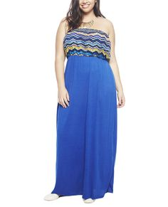 """Get ready to stroll through the peir in this beautiful 2fer tube maxi  dress, featuring a colorful chevron printed crochet blouson top with an  elasticized bust and waist band. Attached skirt has a solid and  stretchy knit body.   Model is 5'9"""" and wears a size 1X      Self: 100% Polyester - Contrast: 88% Polyester / 9% Rayon / 3% Spandex     Machine Wash     USA"""