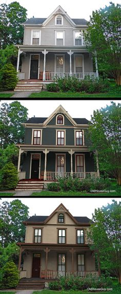 Stucco Victorian with new paint colors.