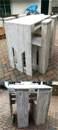 Now here is a good idea for the kid's room where they can easily complete their homework because a comfortable place is required to sit and complete the assigned task, so artistic pallet furniture idea is looking awesome with unique chair style. Homemade Furniture, Diy Furniture, Garden Furniture, Unique Home Decor, Home Decor Items, Kids Pallet Bed, Pallet Sofa, Palette Deco, Pallet Painting
