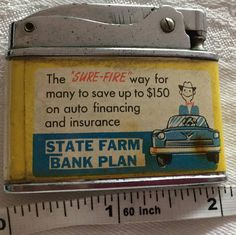 Vintage Collectible Japan Rolex Lighter State Farm Bank Plan Insurance Advertisement SKU 041-17 Have been selling on another online site with over 2000 feedback but wanted to try this awesome Etsy site! I give total refund if not as described. If customer states not what they wanted