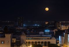Tunis by Night.. at one glance: Government square, Old Town, cathedral, lake & sea. #SuperMoon over Tunisia, caught by Hamideddine Bouali