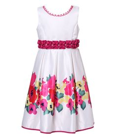 White & Fuchsia Ruffle Floral Dress - Girls by Richie House #zulily #zulilyfinds