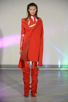 See all the Collection photos from Middlesex University Spring/Summer 2017 Ready-To-Wear now on British Vogue Middlesex University, Red Leather, Leather Jacket, Ready To Wear, British, Vogue, Spring Summer, Orange, Jackets
