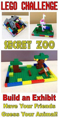Lego Club Challenge–Secret Zoo – The Lego Librarian Legos, Lego Zoo, Zoo Activities, Children Activities, Summer Activities, Lego Challenge, Lego Animals, Lego Club, Lego Craft