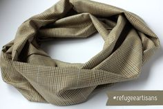 Houndstooth Figure 8 Scarf, sewn by refugees in Charlotte, NC // Men's Fairtrade Scarf