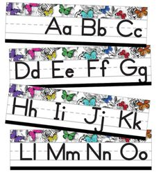 Help students learn the alphabet with content-rich classroom décor. The Woodland Whimsy Alphabet Line: Manuscript Mini Bulletin Board provides students with a fun, easy-to-use reference. Measuring x this set is a great year-round student reference. Classroom Jobs Display, Fall Classroom Decorations, Classroom Organisation, Classroom Design, Classroom Themes, Kindergarten Classroom, Future Classroom, Alphabet Line, Learning The Alphabet
