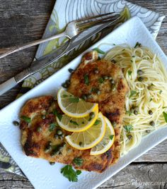 Chicken Piccata {over Angel Hair Pasta} I made this GF and doubled the lemon juice. Delicious!