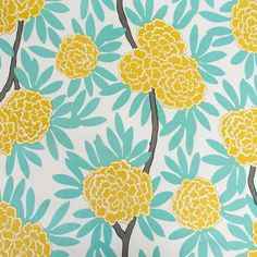 Asian blooms cascade through bold leaves & wandering branches in my principal pattern, Fleur Chinoise. Cool aqua and bright mustard make for an easy, cheerful c