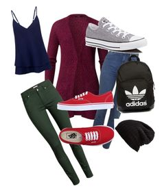 """School"" by cherineurohr ❤ liked on Polyvore featuring C/MEO COLLECTIVE, H&M, Vans, Converse, adidas Originals and Free People"