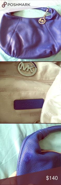 MUST GO!!! Michael Kors Blue Hobo bag Authentic. Beautiful vibrant blue color, soft leather bag, perfect for the upcoming spring season. Slight scuffing on right lower part of bag as seen on the pic. Hence the low price. Also a slight discoloration on top but not very noticeable. Bags Hobos