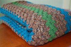 Vintage Hand Crocheted Variegated Brown, Teal Blue and Green Striped Afghan Throw Blanket - SOLD!