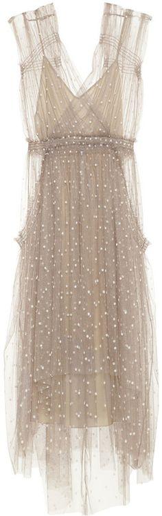 Lela Rose Polkadot Tulle Dress in Brown (taupe)