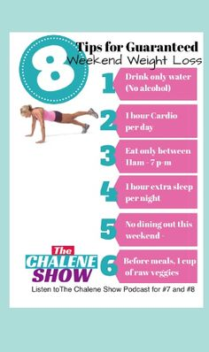 https://itunes.apple.com/us/podcast/chalene-show-motivation-leadership/id911042029?mt=2  Guaranteed Weekend Weight loss! Download my latest podcast episode of The Chalene Show and in less than 10 minutes you'll get all 8 GUARANTeed to work weight loss tips for the weekend!