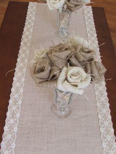 Burlap table runner with cream lace wedding & Burlap roses posy Burlap Projects, Burlap Crafts, Sewing Projects, Diy Crafts, Burlap Lace, Burlap Flowers, Hessian, Burlap Table Runners, Lace Table
