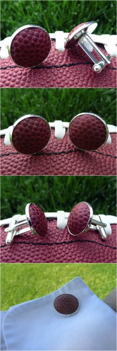 Perfect for that die-hard football fan, these handmade cufflinks are created using a real leather Football, the same kind of football your favorite players use. I can use a random football to make these or you can send me one that has special meaning to you and I'll use that. | Hatch.co
