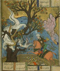Rustam kills a dragon. Illustration of the Shahnameh.