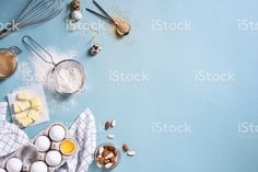 Egg Biscuits, Almond Nut, Nut Butter, Healthy Baking, Baking Ingredients, Blue Backgrounds, Eggs, Stock Photos, Image