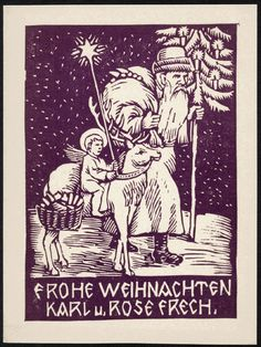 1920 Linocut Christmas Card, by painter and graphic artist Karl Hugo Frech (1883 – 1945), native of the south-west Germany, who moved in 1914 to Bratislava, Slovakia and spent more than half of his life here.