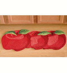 Washable Hand-Hooked Apples Accent Rug by Plow & Hearth, Apple Kitchen Decor, Kitchen Decor Themes, Farmhouse Kitchen Decor, Kitchen Stuff, Kitchen Ideas, Kitchen Throw Rugs, Kitchen Rugs And Mats, Red Kitchen Accents, Strawberry Kitchen