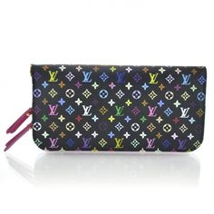 This is an authentic LOUIS VUITTON Multicolor Insolite Wallet in Grenade.   This is a stunning clutch wallet that features the Multicolore monogram in 33 vivid colors here done on a small scale on the large wallet for a chic and vibrant look.